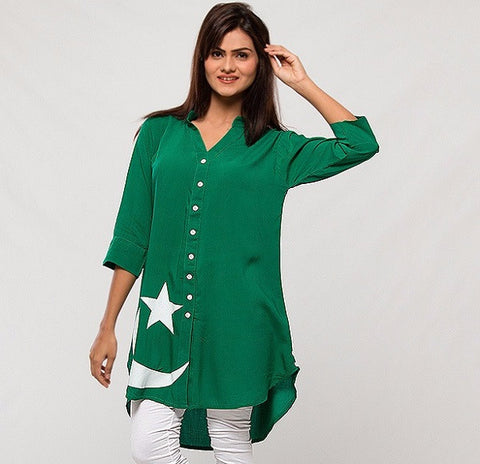 Female Independence Front Button Top (Design KH-001)