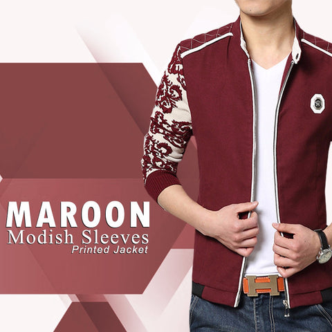Mehroon Modish sleeves Printed Jacket