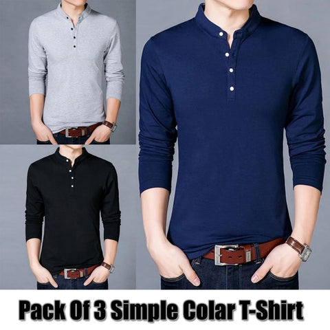 PACK OF 3 SIMPLE COLLAR T-SHIRTS