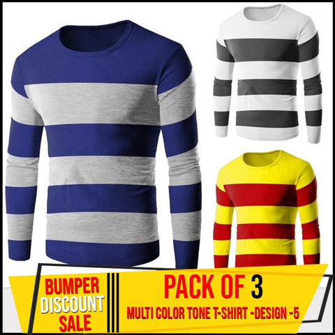 Pack of 3 Multi Color Tone T-Shirts Design-5