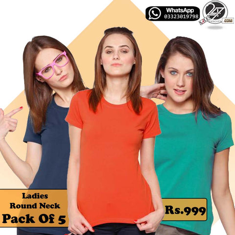 Pack of 5 Female Round Neck T-Shirts.