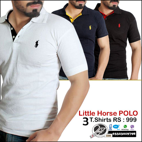 Little Horse polo T shirts ( Contrast collar )