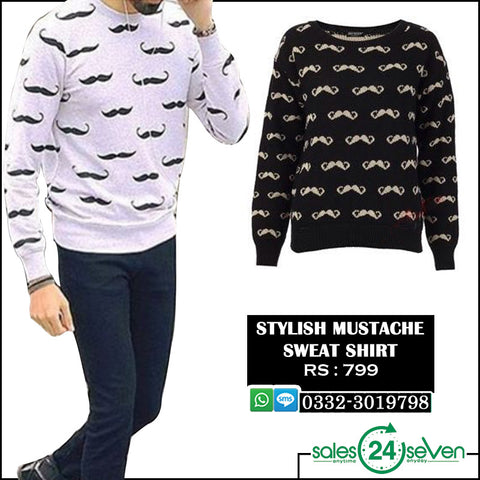 Stylish Mustache Sweat Shirt