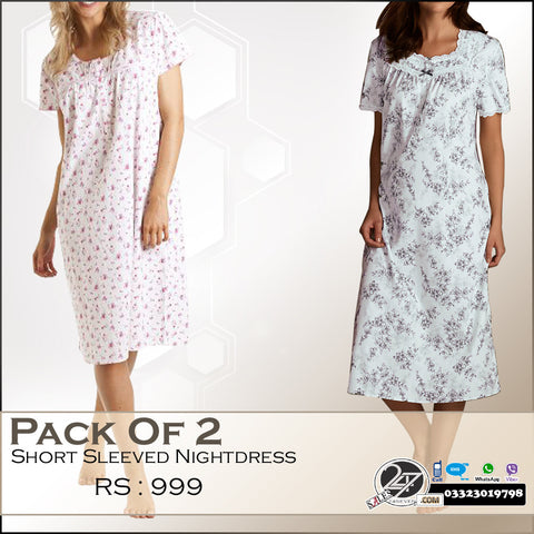 Pack of  2 Short Sleeved Night Dress