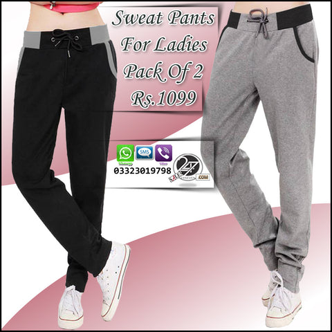 Pack of 2 Designer wear Sweat Pants for Females