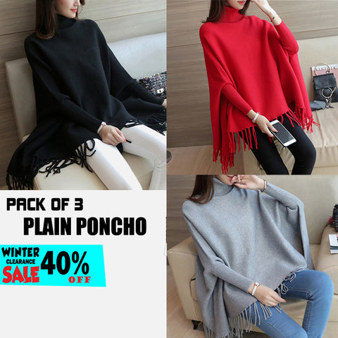 PACK OF 3 PLAIN PONCHO ( WINTER CLEARANCE SALE )