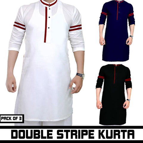PACK OF 3 DOUBLE STRIPE KURTA
