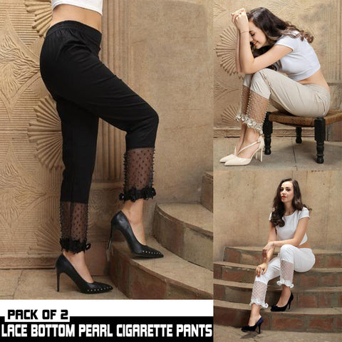 PACK OF 2 LACE BOTTOM PEARL CIGARETTE PANTS
