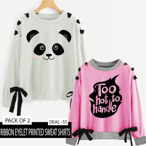 PACK OF 2 RIBBON EYELET PRINTED SWEAT SHIRT ( DEAL 55 )
