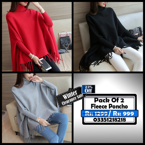 Pack of 2 Female Fleece Poncho