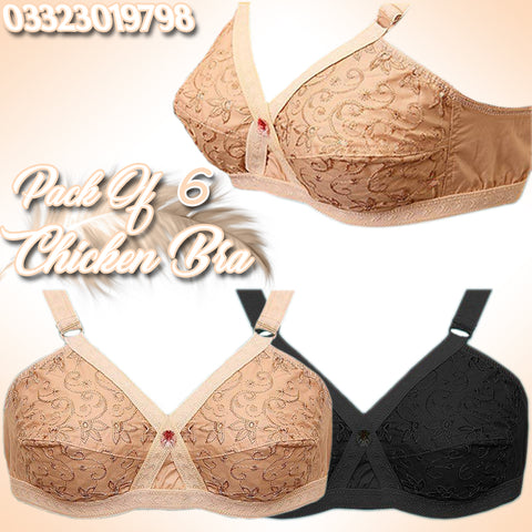 PACK OF 6 CHICKEN FABRIC BRAS (RANDOM COLORS)