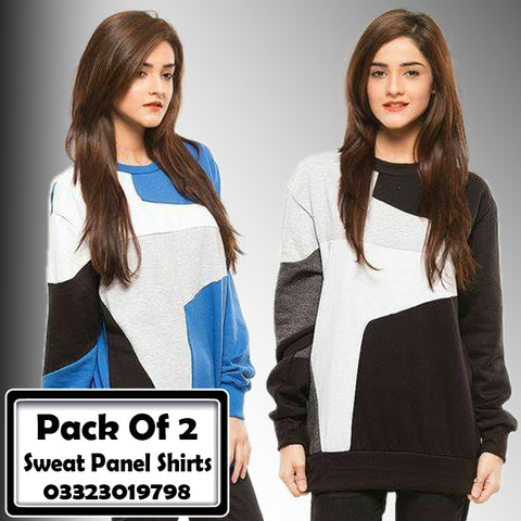 Pack Of 2 Sweat Panel Shirts Female