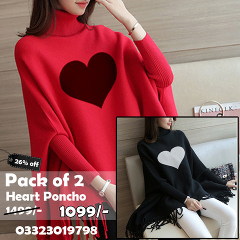 Pack Of 2 Heart Fleece Poncho