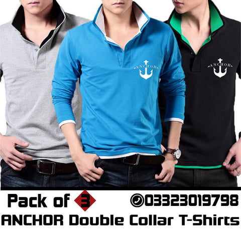 PACK OF 3 ANCHOR DOUBLE COLLAR FULL SLEEVES T-SHIRTS