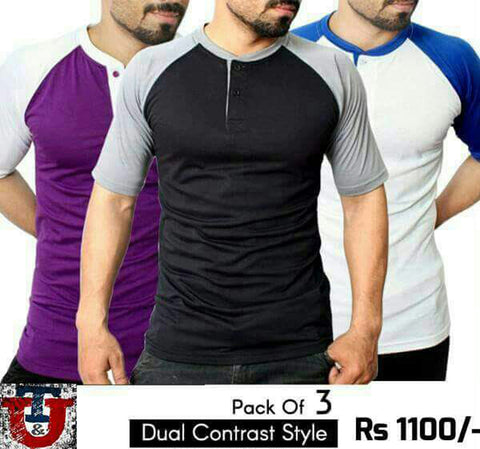 PACK OF 3 DUAL CONTRAST STYLE T-SHIRTS
