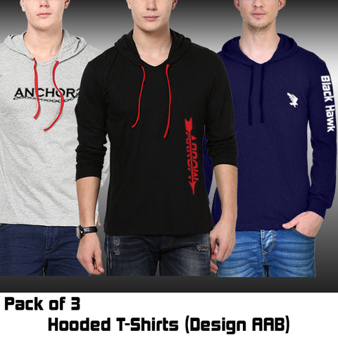 PACK OF 3 HOODED T-SHIRTS (DESIGN AAB)