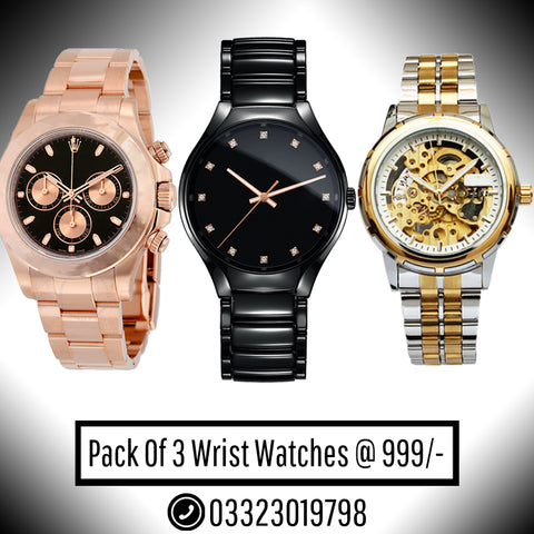 PACK OF 3 WRIST WATCHES