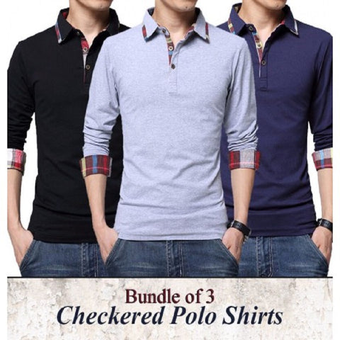 PACK OF 3 CHECKERED POLO TSHIRTS