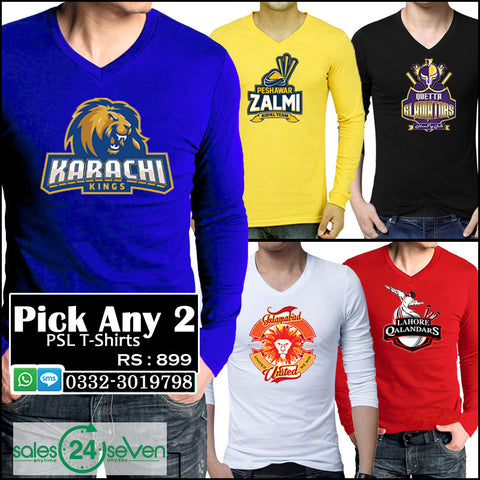 Pick Any 2 PSL V-Neck Full Sleeves T-Shirts