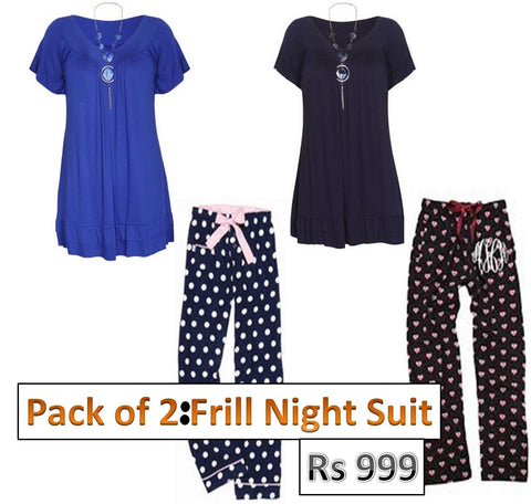 Pack of  2 Frill Night suit