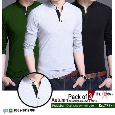 Pakistan Day Offer: Pack of 3 Autumn T shirts