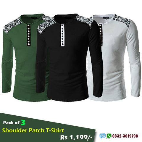 Pack of 3 Shoulder Patch T-Shirts