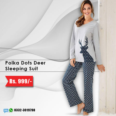 Polka Dots Deer Sleeping Suit