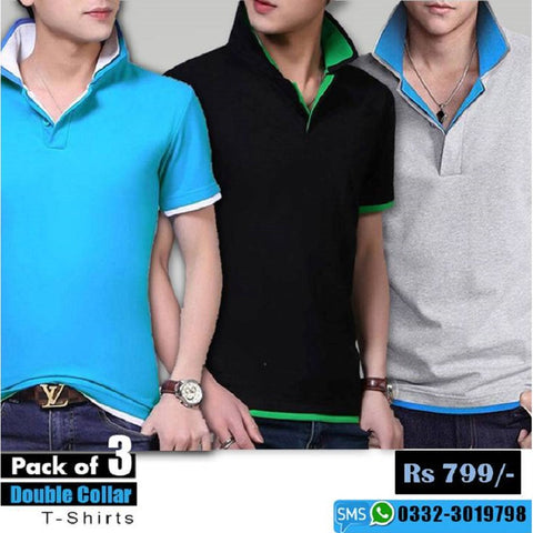 Pack of 3 double collar T shirts