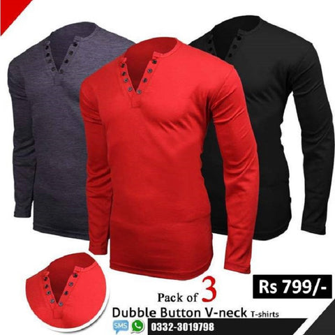 Pack of 3 Double Button V -Neck