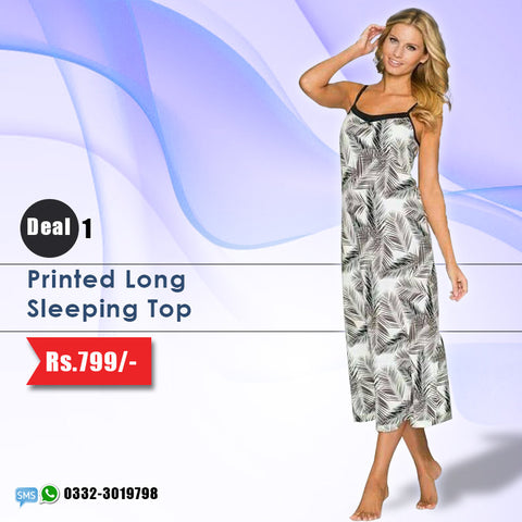 Printed Long Sleeping Top (Deal-1)
