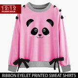 12-12 SALE : PINK RIBBON EYELET PRINTED SWEAT SHIRT