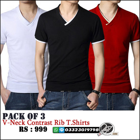 Pack of 3 V neck Contrast Rib T shirts