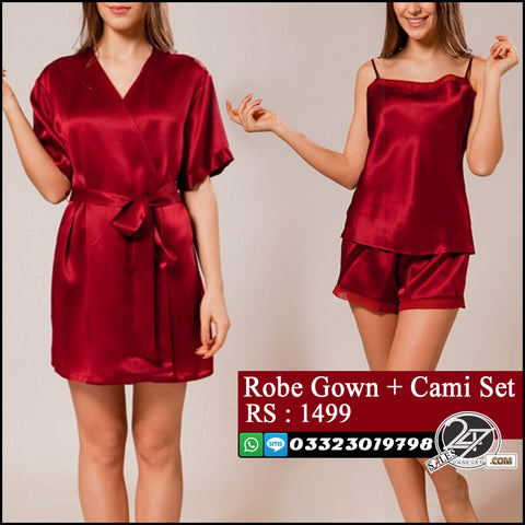 Stylish Robe Gown + Cami Set