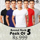 Pack of 5 Round Neck Half Sleeves T-Shirts