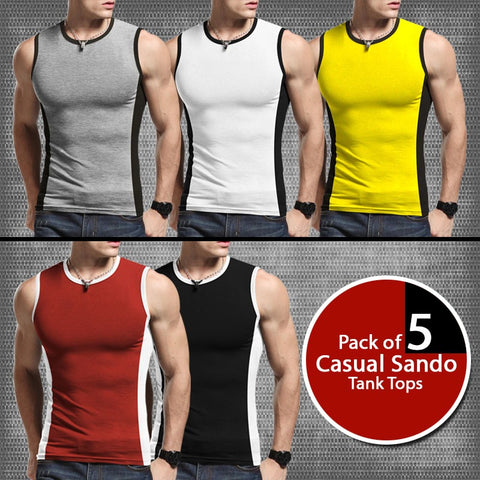 Pack Of 5 Casual Sando Tank Tops