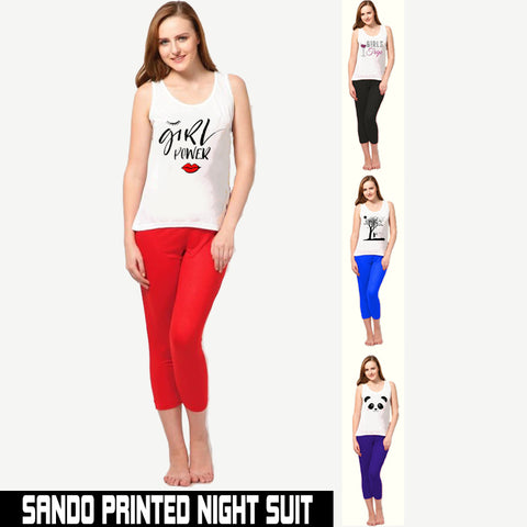 PACK OF 2 SANDO PRINTED NIGHT SUIT