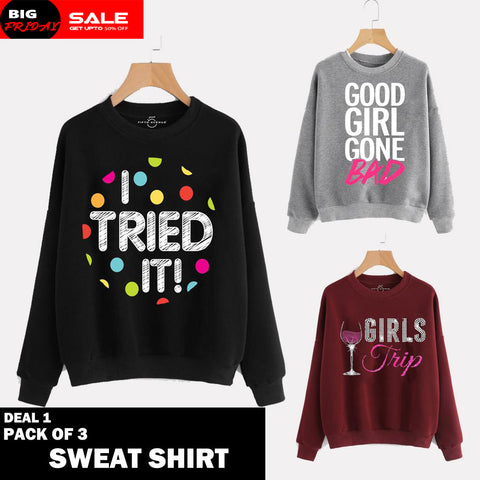 PACK OF 3 SWEAT SHIRTS ( DEAL 1 )