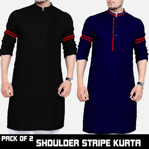 PACK OF 2 SHOULDER STRIPED KURTA