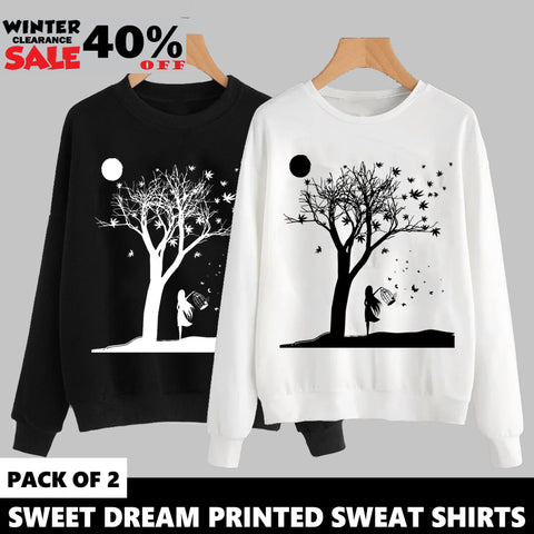 PACK OF 2  SWEET DREAM PRINTED SWEAT SHIRTS ( WINTER CLEARANCE SALE )