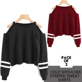 Pack of 2 Cold Stripe Shoulder Sweatshirts