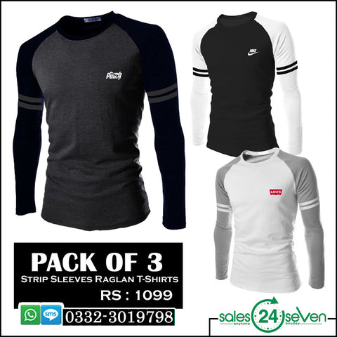 Pack of 3 Stripe Sleeves Raglan T-Shirts