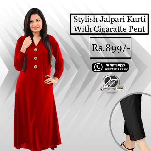 Stylish Jalpari Kurti with Free Cigarette Pants