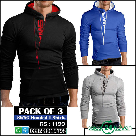 Pack of 3 SWAG Hooded T-Shirts