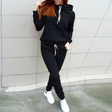 PLAIN BLACK KANGROO HOODED TRACK SUIT