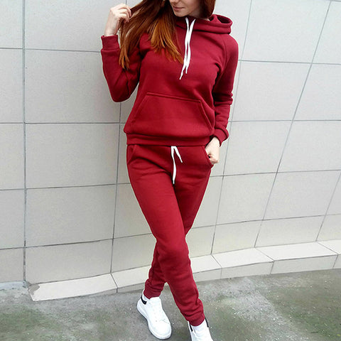 11-11 SALE:   PLAIN MAROON KANGAROO HOODED TRACK SUIT