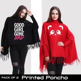 Pack of 2 Printed Poncho (Select any 2)