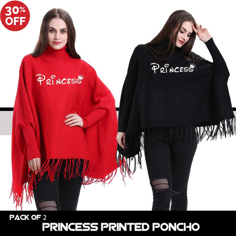 11-11 SALE:  Pack of 2 Princess Printed Poncho
