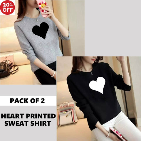 11-11 SALE:  PACK OF 2 HEART PRINTED SWEAT SHIRTS