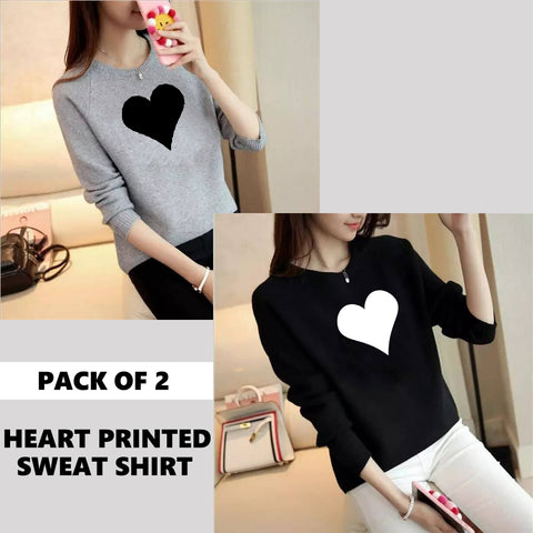 PACK OF 2 HEART PRINTED SWEAT SHIRTS