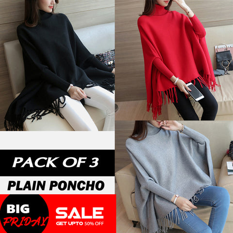 PACK OF 3 PLAIN PONCHO